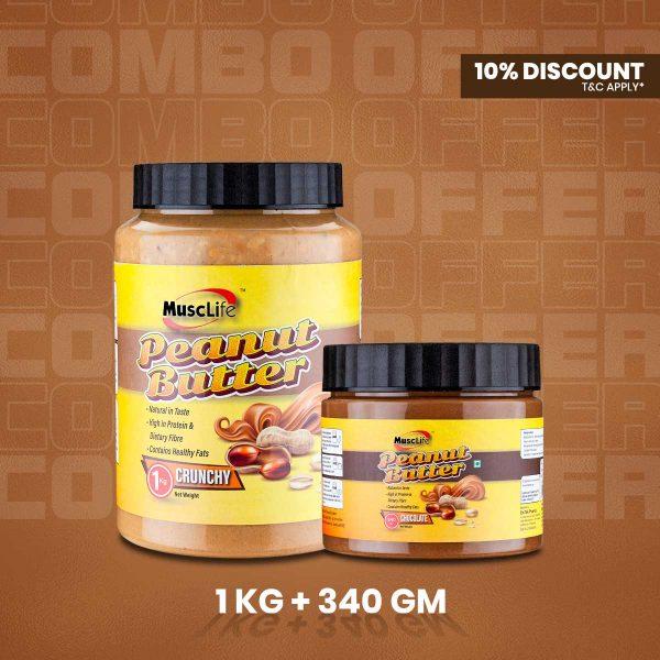 Musclife Peanut Butter Combo (Crunchy 1kg & Chocolate 340gm)
