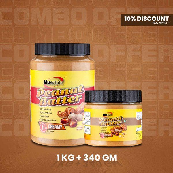 Musclife Peanut Butter Combo (Creamy 1kg & Crunchy 340gm)